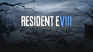 Resident Evil 8 artwork showing snowy village