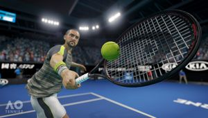 A close up shot of the action in AO Tennis 2.