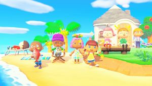A group of multiplayer characters hanging out in Animal Crossing: New Horizons