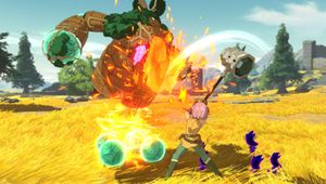 picture showing a character fighting giant monster