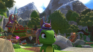 Yooka the chameleon and Laylee the bat in a forest