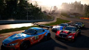 GTR 3 screenshot of cars doing racing stuff with track and sunset in the background