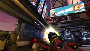 Screenshot with a rocket launcher from Diabotical arena shooter