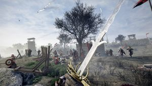 mordhau screenshot showing an arm holding a sword in a battlefield