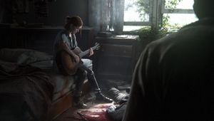Ellie is playing guitar in a decrepit room as someone approaches her