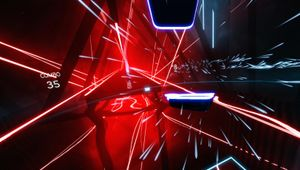 Screenshot from Beat Saber showing stuff in black, blue and red colours