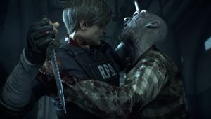 Leon from Resident Evil 2 remake fighting a zombie