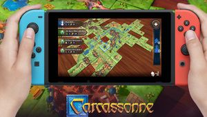Image of Carcassonne being played on Nintendo Switch