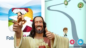 Buddy Christ from the movie Dogma overlaid over JC Follow Go!