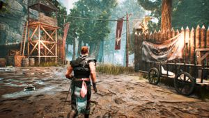 Gothic Remake screenshot showing a warrior in an outpost