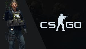 artwork showing cs:go logo and first female player model