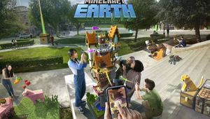 minecraft earth artwork showing several characters in a park with their smartphones
