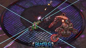 Several futuristic creatures fighting on a circular platform