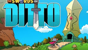 Starting screen from The Swords of Ditto showing its vibrant colours in the game's pretty panorama.