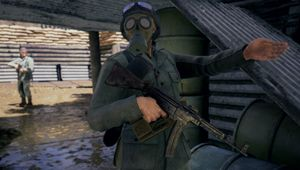 German soldier with MP 40 wearing gas mask