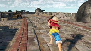 Luffy running down the docks.