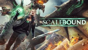 Scalebound poster showing a huge dragon and Drew, protagonist
