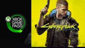 artwork showing cyberpunk 2077 character and xbox game pass logo