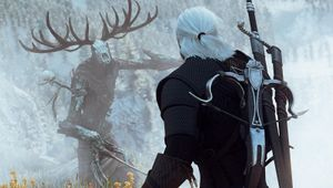 witcher 3 screenshot showing geralt battling leshen