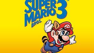 Super Mario flying under a Super Mario Bros. 3 logo