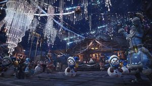 Mhw iceborne screenshot showing decorations in the hub