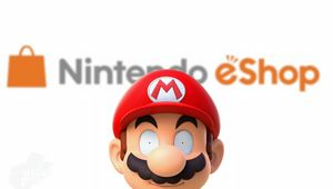 Super Mario with zombie eyes in front of Nintendo eshop sign