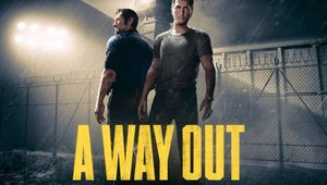 Two guys standing in a prison yard with yellow ''A WAY OUT'' written over them.