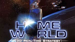 Homeworld classic box cover image showing mothership and fleet with planet in the background