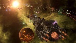 Screenshot from Stellaris: Apocalypse showing an incoming space battle between two fleets with massive ships in them.