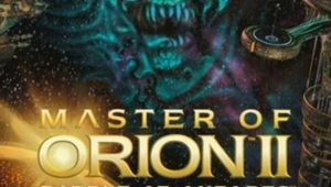 master of orion 2 cover art showing game logo and alien space face in the background