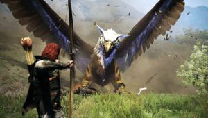 picture showing a character in battle with giant eagle
