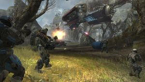 Halo Reach soldiers shooting at an aircraft