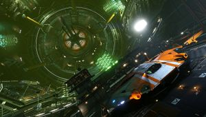 Picture of a space ship in a hangar