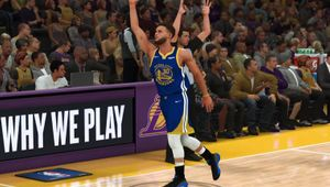 Steph Curry celebrating a shot in NBA 2K20.