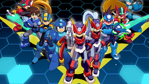 A bunch of red and blue anime robot man dudes.