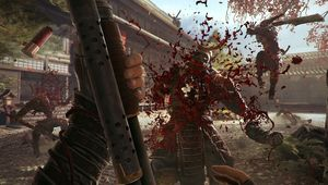 Shadow Warrior 2 promotional image of player character blowing a hole through a samurai