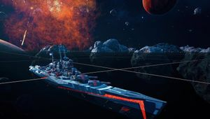 A spaceship resembling a warship from World of Warships