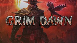 Promotional poster for Grim Dawn in shades of red  showing the player's character with a raven on his arm.