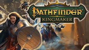 Pathfinder Kingmaker promotional cover art with guy shouting over his shield