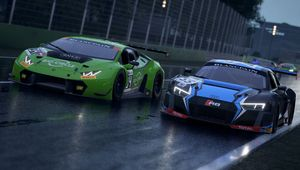 Assetto Corsa Competizione screenshot of what seem to be two lambourginies holding hands