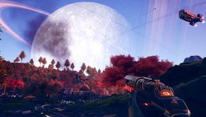 Picture of the player looking at a nearby planet in The Outer Worlds