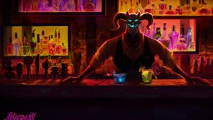 Painted Satan standing behind a bar like a bartender