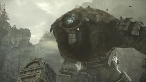 A huge stone creature from the game Shadow of Colossus holding a hammer