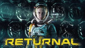 RETURNAL written in yellow font, below the game's main protagonist in a space suite - Selene.