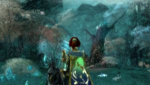 Picture of a female warrior in Guild Wars in a fairy tale-like forest