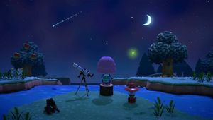 A character sits alone observing the stars in Animal Crossing: New Horizons