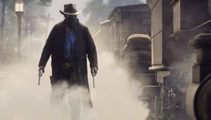 Picture of Morgan walking through dust in Red Dead Redemption 2