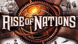 rise of nations box art cover showing gears historical scenes and game logo