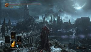 Dark Souls 3 screenshot showing a gothic city