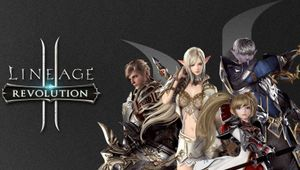 Several anime looking people are posing for a photo in Lineage 2: Revolution